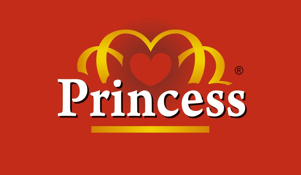 Лого, търговска марка Princess, червен фон.